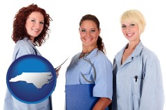 north-carolina three female doctors wearing hospital uniforms