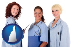 new-hampshire three female doctors wearing hospital uniforms