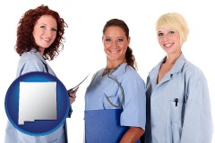 new-mexico three female doctors wearing hospital uniforms
