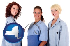 new-york three female doctors wearing hospital uniforms