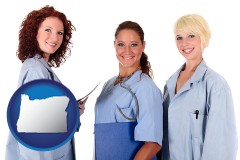 oregon three female doctors wearing hospital uniforms