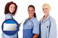 pennsylvania three female doctors wearing hospital uniforms