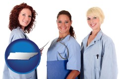 tennessee three female doctors wearing hospital uniforms