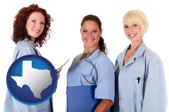 texas three female doctors wearing hospital uniforms