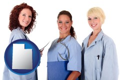 utah three female doctors wearing hospital uniforms