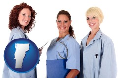 vermont three female doctors wearing hospital uniforms