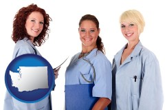 washington three female doctors wearing hospital uniforms