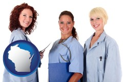 wisconsin three female doctors wearing hospital uniforms
