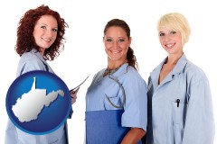 west-virginia three female doctors wearing hospital uniforms