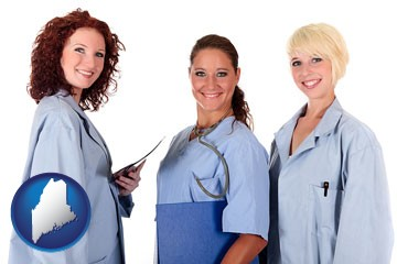 three female doctors wearing hospital uniforms - with Maine icon