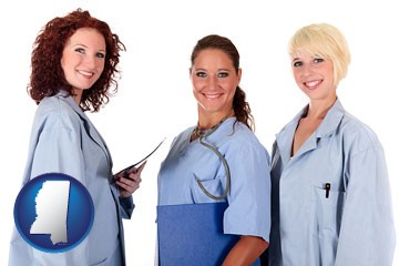 three female doctors wearing hospital uniforms - with Mississippi icon