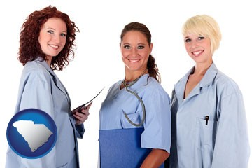 three female doctors wearing hospital uniforms - with South Carolina icon