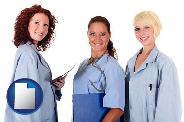 three female doctors wearing hospital uniforms - with Utah icon