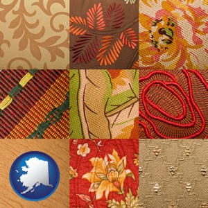 upholstery fabric swatches - with Alaska icon