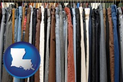 louisiana used clothing on a thrift store rack