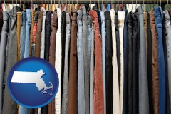 massachusetts used clothing on a thrift store rack