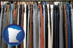 minnesota used clothing on a thrift store rack