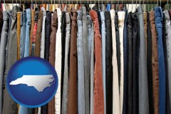 nc map icon and used clothing on a thrift store rack