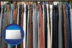 north-dakota used clothing on a thrift store rack