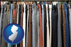 new-jersey used clothing on a thrift store rack
