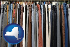 new-york used clothing on a thrift store rack