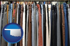 oklahoma used clothing on a thrift store rack