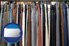 pennsylvania used clothing on a thrift store rack