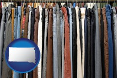 south-dakota used clothing on a thrift store rack
