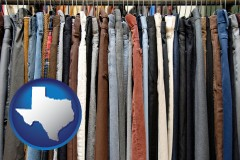 texas used clothing on a thrift store rack