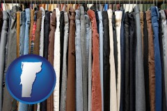 vermont used clothing on a thrift store rack