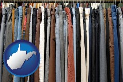 west-virginia used clothing on a thrift store rack