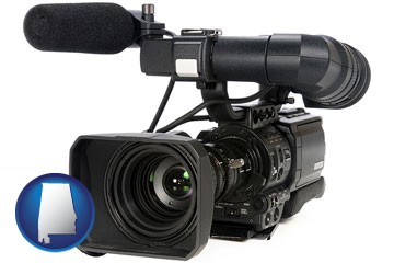 a professional-grade video camera - with Alabama icon