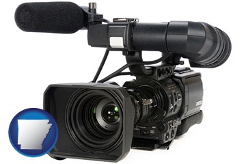 a professional-grade video camera - with Arkansas icon