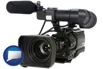 a professional-grade video camera - with Connecticut icon