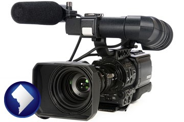 a professional-grade video camera - with Washington, DC icon