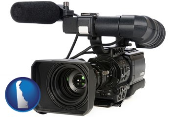 a professional-grade video camera - with Delaware icon