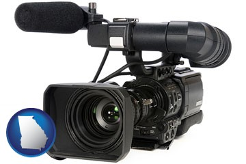 a professional-grade video camera - with Georgia icon