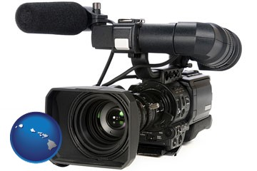 a professional-grade video camera - with Hawaii icon