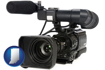 a professional-grade video camera - with Indiana icon
