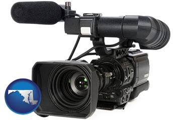 a professional-grade video camera - with Maryland icon