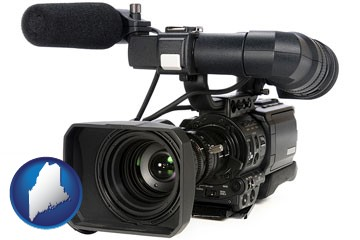 a professional-grade video camera - with Maine icon