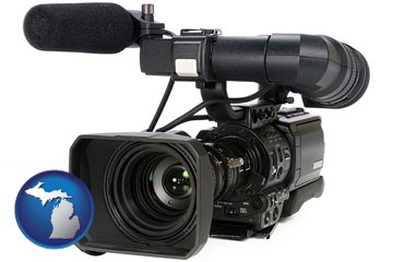 a professional-grade video camera - with Michigan icon