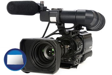 a professional-grade video camera - with North Dakota icon