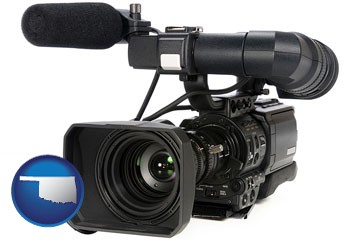 a professional-grade video camera - with Oklahoma icon