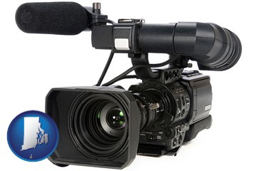a professional-grade video camera - with Rhode Island icon