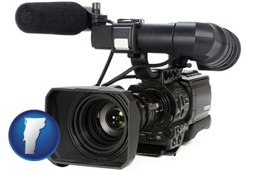 a professional-grade video camera - with Vermont icon