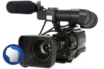 a professional-grade video camera - with Wisconsin icon