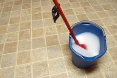 a mop and bucket on a vinyl kitchen floor