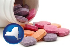 new-york map icon and chewable vitamins