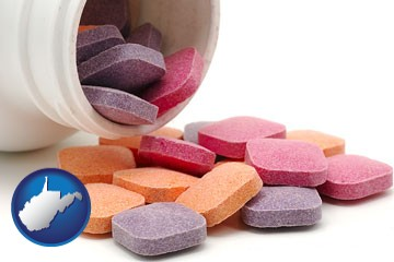 chewable vitamins - with West Virginia icon